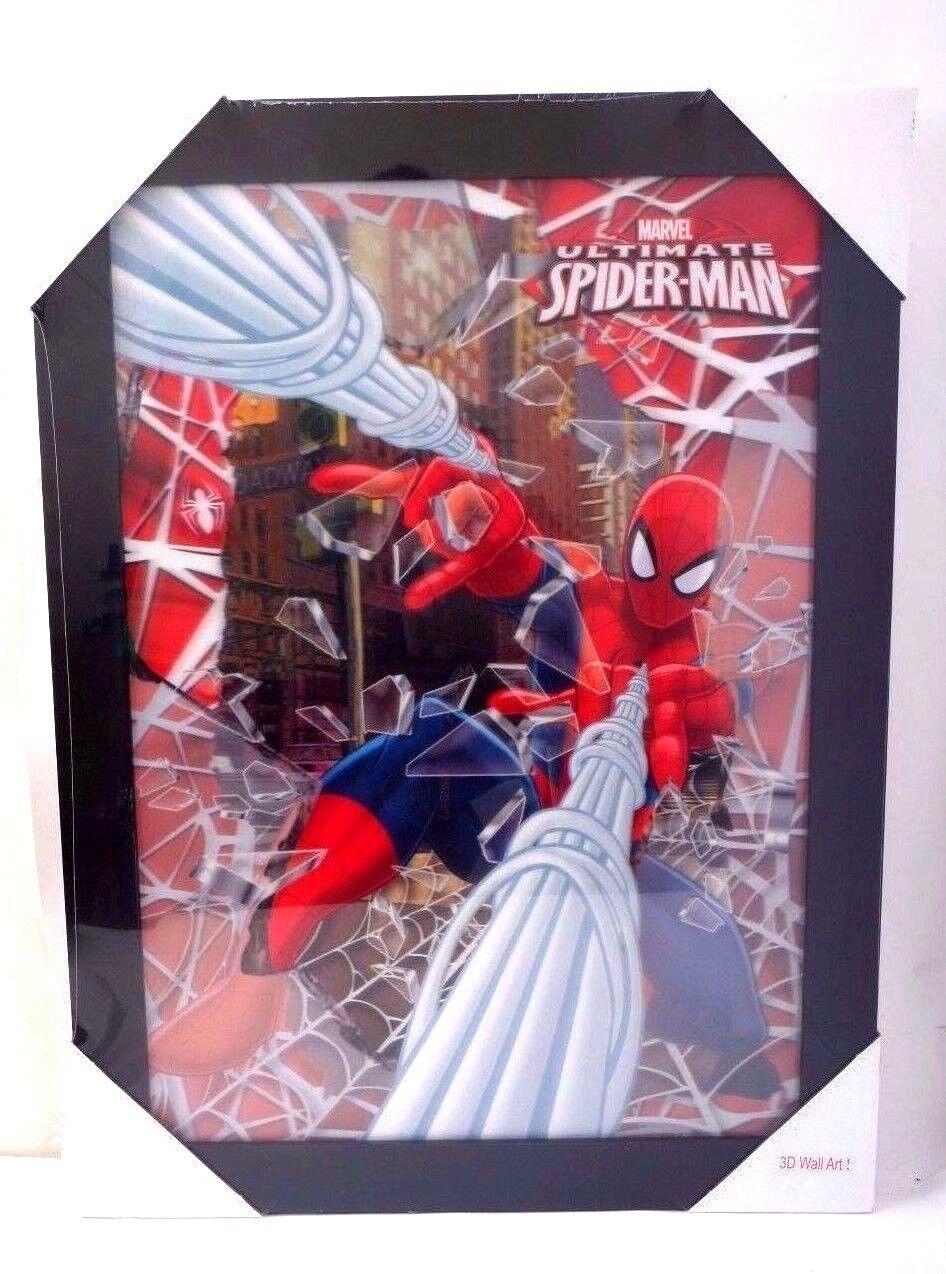NEUF  MARVEL Spider-Man 3D Wall Art 22  X 30  encadrée image lenticulaire Hologramme