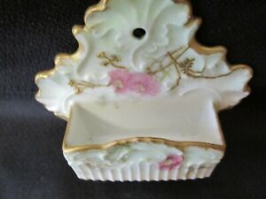 S38-ANTIQUE-FRENCH-LIMOGES-AK-CO-HAND-DECORATED-PINK-FLORAL-MATCH-SAFE-HANGING