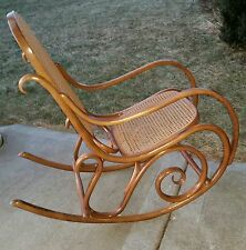 Genuine Thonet Mid Century Vintage Steam Bent Beech Wood Cane Rocking Chair Sgnd