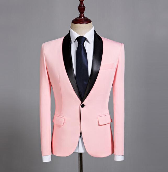 Men Pink Blazers One Button Business Business Wedding Slim Fit Dress Coats