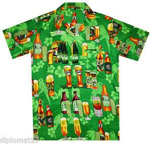 Das Bild wird geladen Funky-Hawaiihemd-Hawaiian-Shirt-Bier-Flaschen-gruen-XS -