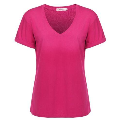 Meaneor Frauen Casual Fashion V-Ausschnitt Kurzarm solide lose T-Shirt CHPH 03