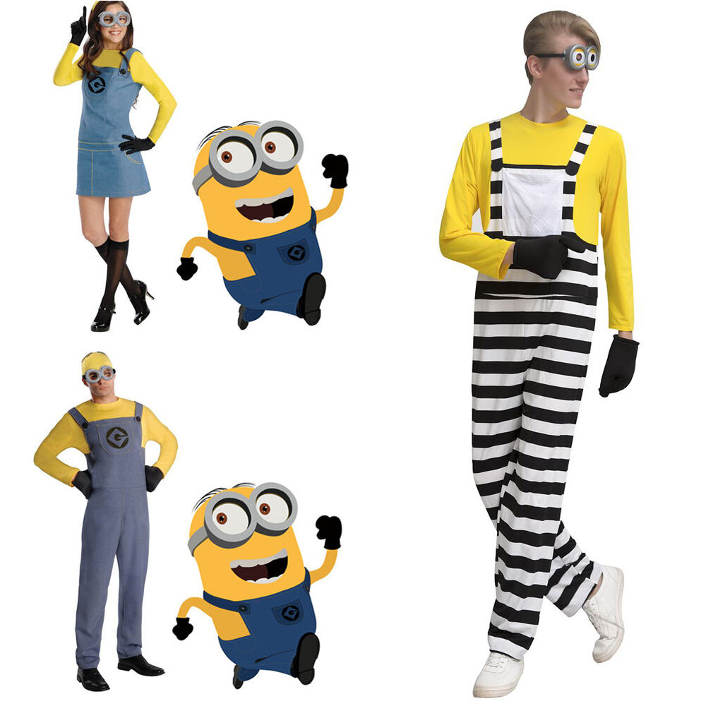 Despicable Me Minion Cosplay Fancy Dress Jumpsuit Costume Halloween Party Outfit