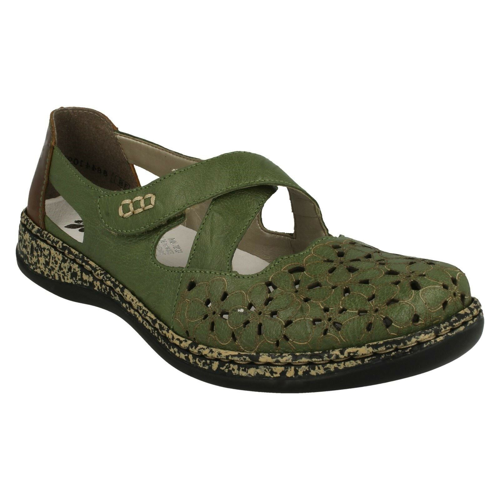 Da Donna Rieker 463H4 Mocassini Smart Casual Scarpe verde Taglia Estate