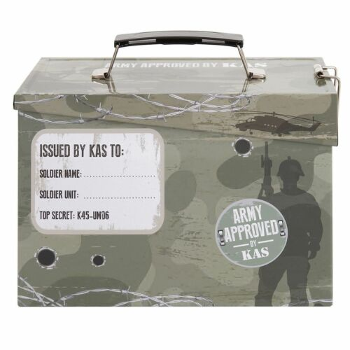 Kids Army Military Camouflage Camo Ammo Tin Lunch Storage Toy Box