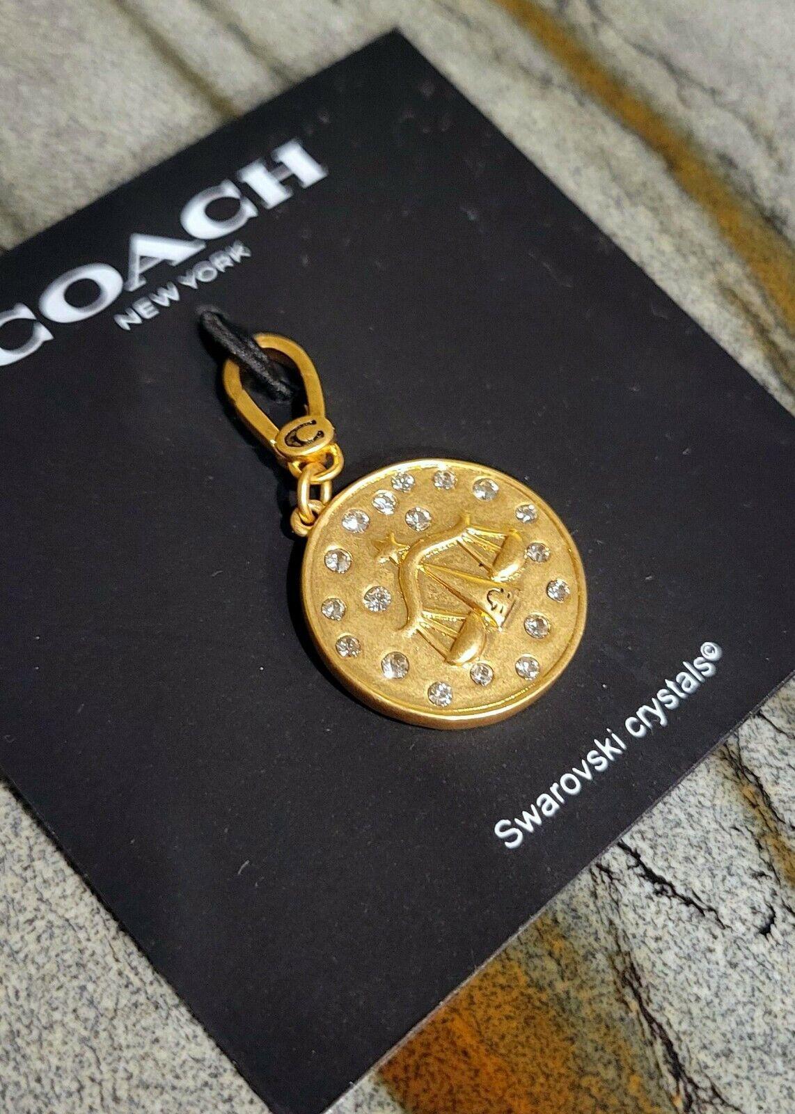 COACH Zodiac Libra Gold-tone charm Swarovski Crystal 55 New pendant jewelry