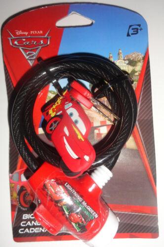 Disney Pixar Cars Bicycle Lock w// Keychain /& 2 Keys Lightning McQueen Francesco