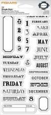 FISKARS Simple Stick CALENDAR Rubber Cling Stamps JOURNAL MONTHS DAYS DATES