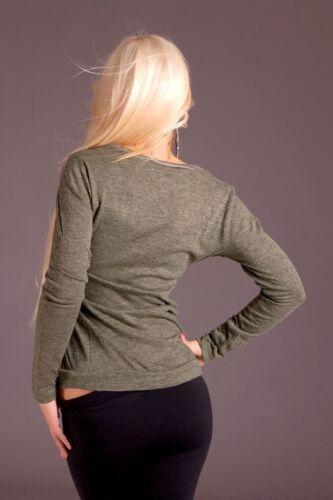 Langarm Shirt Longshirt Bluse Chiffon Longsleeve Sweatshirt Olivgrau M-L-XL #119
