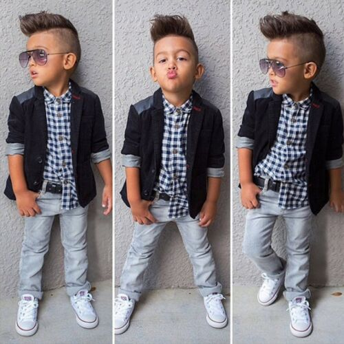 Toddler Kids Baby Boys Gentleman Set Coat+Shirt+Denim Pants Casual Outfits 3Pcs