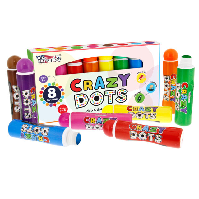 8 Color Crazy Dots Children's Dot Markers Washable Easy Grip Non-Toxic