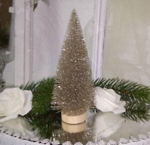 weihnachtsbaum tanne baum klein gold glitter 8x16cm shabby. Black Bedroom Furniture Sets. Home Design Ideas