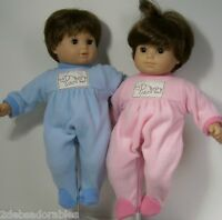 Matching Pink Blue Elephant Pajama Pjs Doll Clothes For Bitty Baby Twin (debs)
