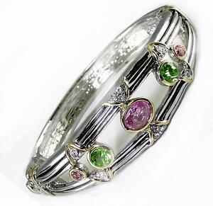 Crystal-Bangle-Bracelet-Pink-Green-Silver-Gold-Hinged-Designer-Women-Jewelry