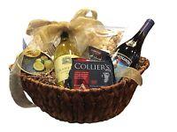 Bountiful Pinot Noir & Chardonnay Wine, Cheese, Crackers & Chocolate Gift Basket on Sale
