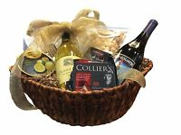 Bountiful Pinot Noir & Chardonnay Wine, Cheese, Crackers & Chocolate Gift Basket on sale