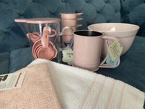 Details about Pink Baking Set Batter Bowl,Measuring Cups Pink Kitchenaid  Towel Flour Sifter
