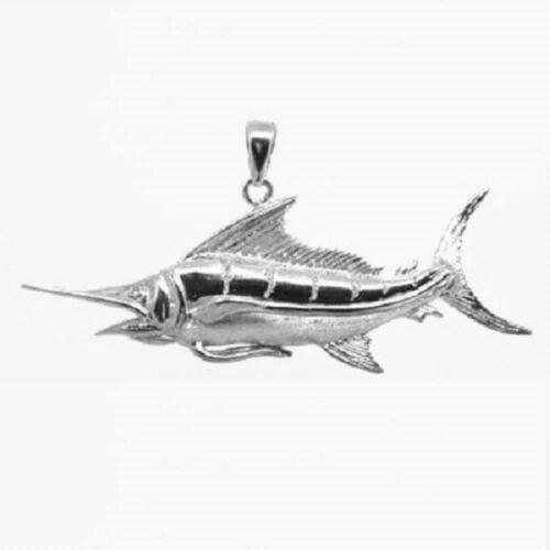"Made in USA,18/"" Italian Box Chain 5.2g Sterling Silver BLUE MARLIN Fish Pendant"