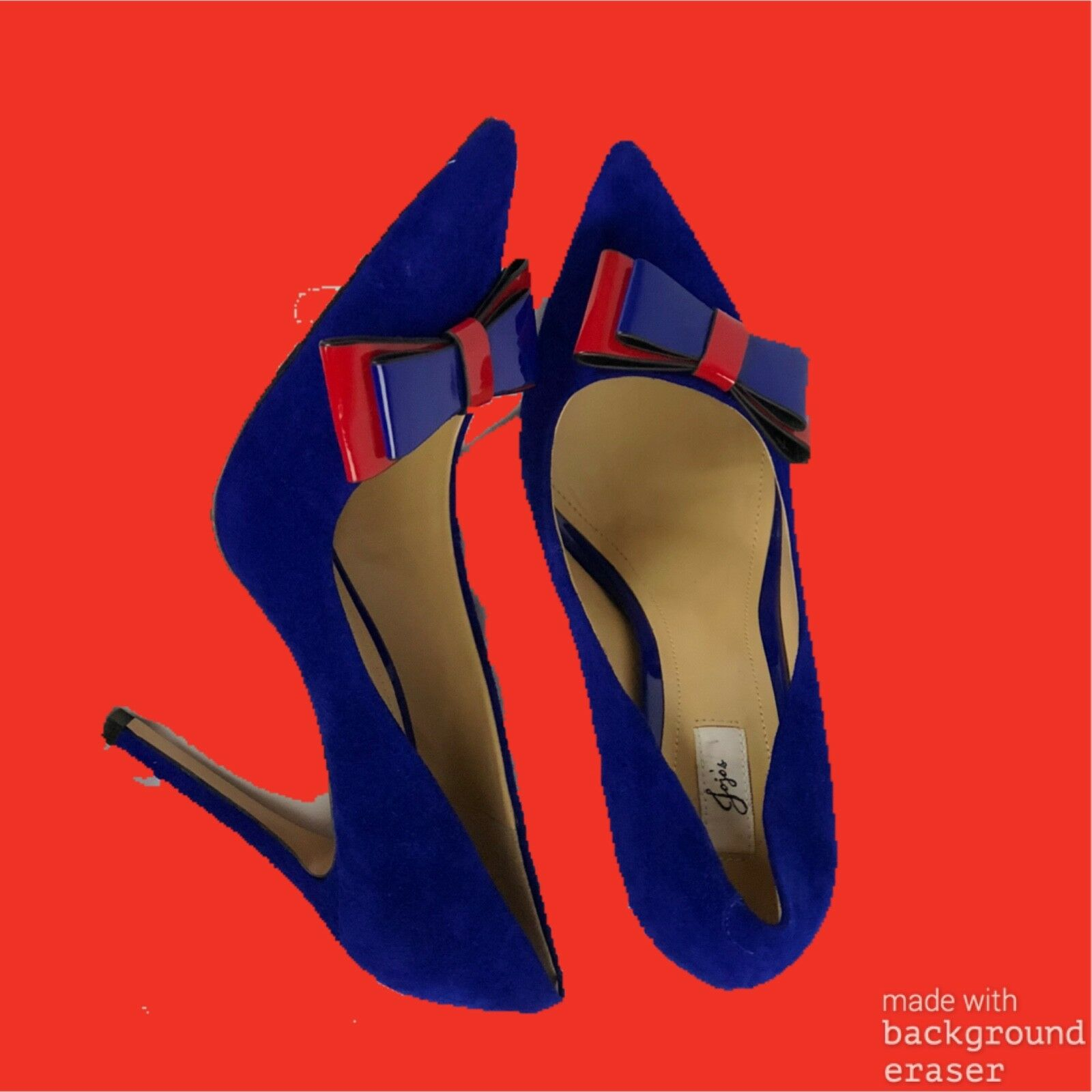 Blue high heeled pumps with red bow details