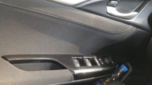 For Honda Civic 2016-2018 ABS Carbon Fiber Door Armrest Window Lifter Cover Trim
