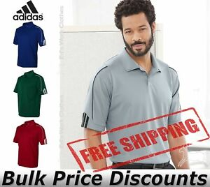 Adidas-Mens-Climalite-3-Stripes-Cuff-Sport-Shirt-A76-up-to-4XL