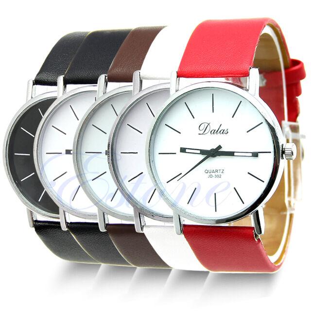 Fashion Women Leather Band Stainless Steel Sport Quartz Analog Wrist Watch Brown