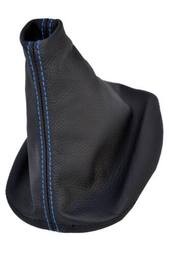 FITS LANCIA FULVIA BLACK LEATHER GEAR GAITER blue stitch