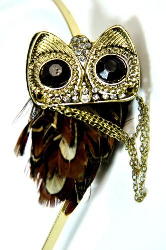 Elegante Diadema Búho Negro Oro único impresionante nueva marca captura de los ojos CL4