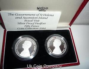 1984-Ascension-Island-amp-St-Helena-Silver-Proof-Piedfort-Coin-Set-Box-amp-Cert