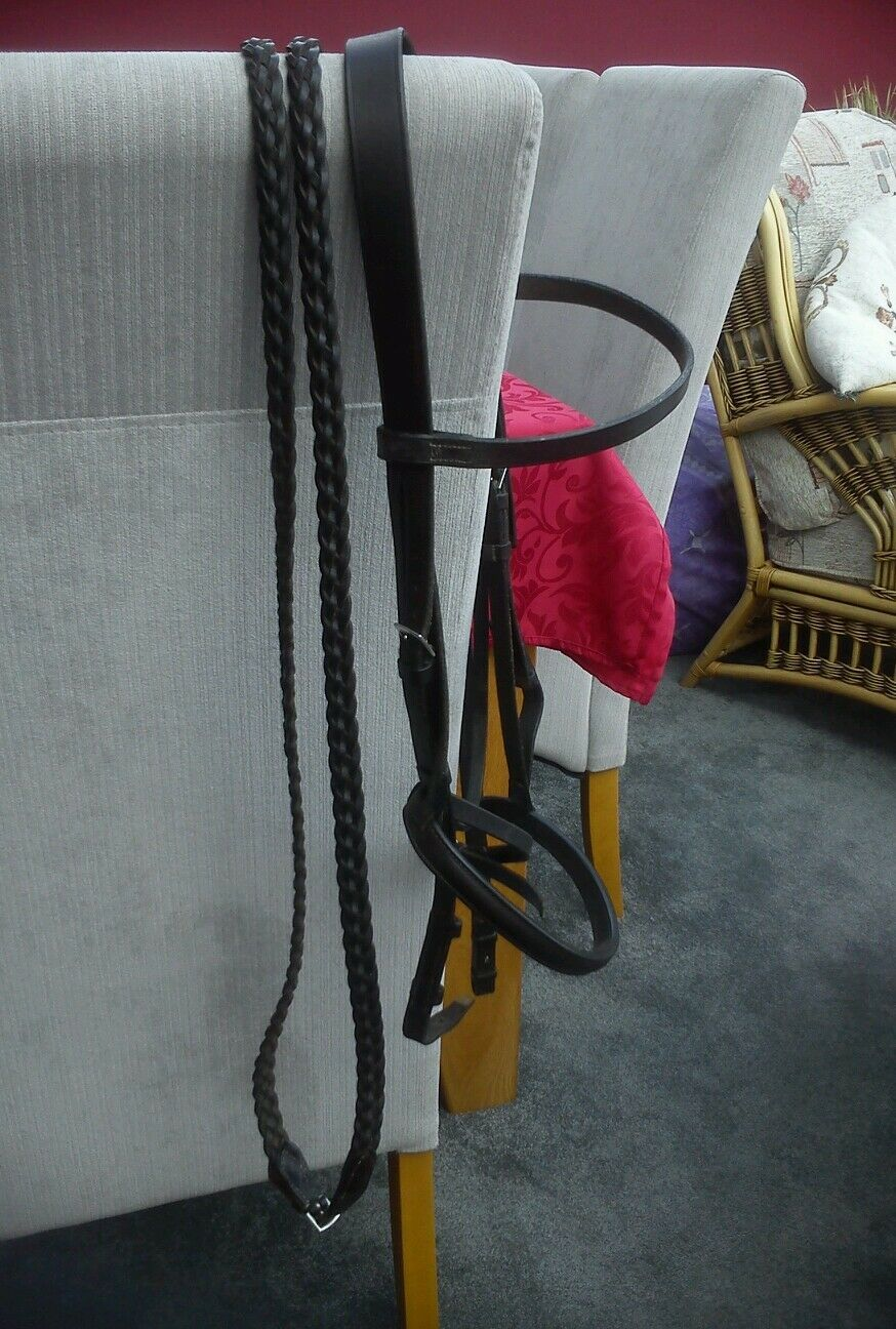 JEFFRIES FULL SIZED SHOW BRIDLE AND PLAITED REINS HAVANA