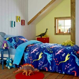 Kids-Teddy-Sherpa-Dinosaur-Roar-Duvet-Quilt-Cover-Set-Blue-Reversible-Single-Bed