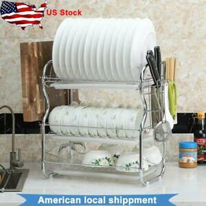 Kitchen-Storage-Space-Saver-Dish-Cup-Drying-Rack-Holder-Sink-Drainer-3Tier-Dryer