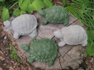 4-1-2-034-Long-Cement-Turtle-Lot-of-4-Garden-Art-Concrete-Statue-Lawn-Ornament