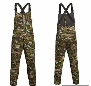Under Armour Mens Camo Season Forest Khaki Hunting Grit Bibs Pants 1316872 940
