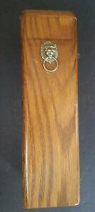 Vintage Fireplace Matchbox Holder Oak Brass Lions Head Long Matches