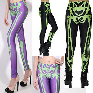 Black-Long-Leggings-X-Ray-Skeleton-Print-Bones-Stretch-Halloween-Gothic-Slim-New
