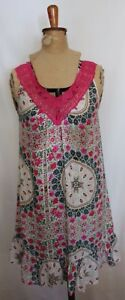 PETER-ALEXANDER-Pink-White-Blue-Green-Floral-Lace-Trim-Viscose-Nightie-XS