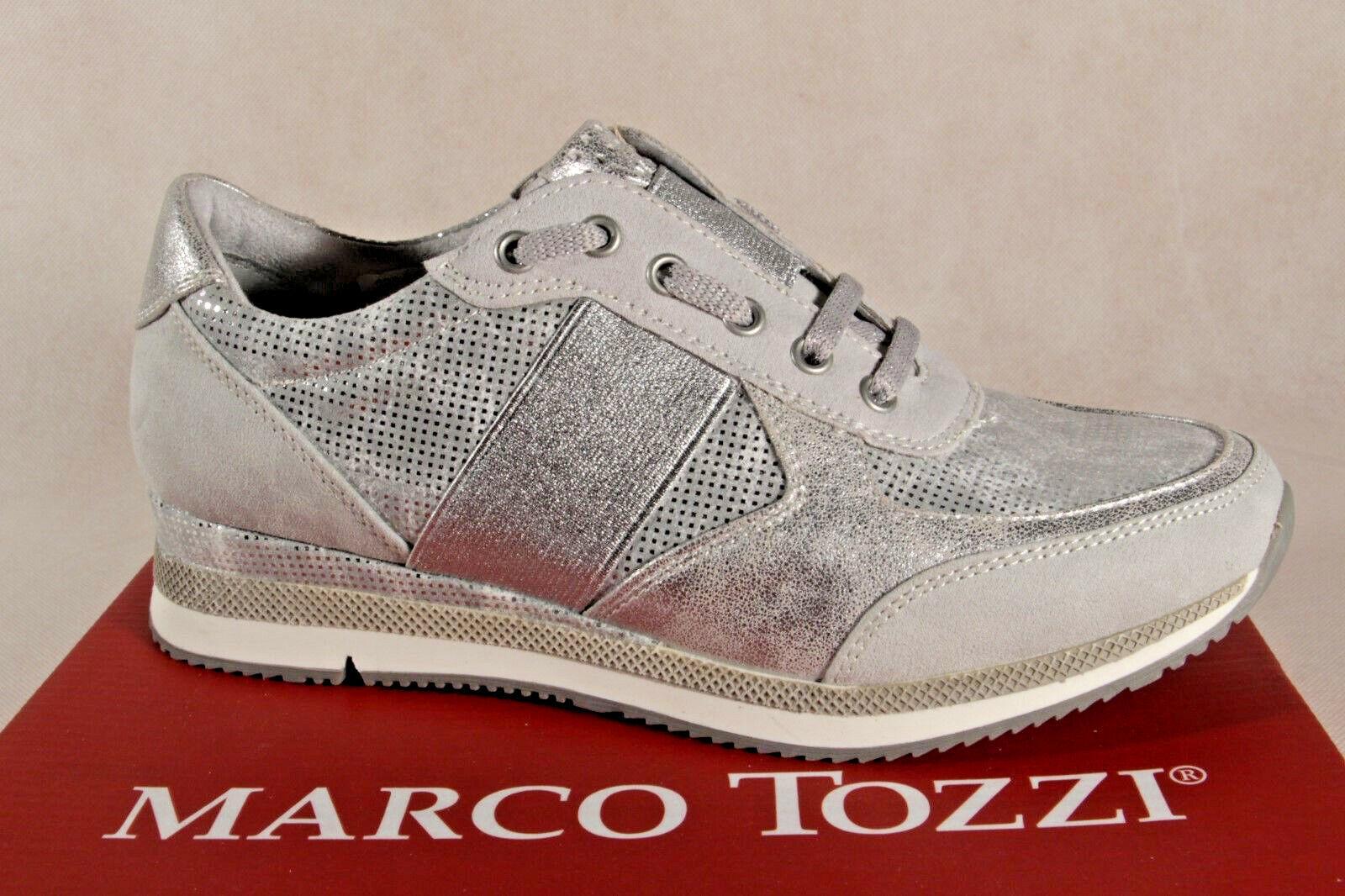 Marco Tozzi Pantofola Scarpe da Ginnastica Basse argentoo 23711 Nuovo