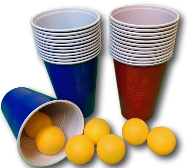 Bier-Pong Beer Pong Set je 24 Becher und Bälle Trinkspiel Party Spiel Wurfspiel
