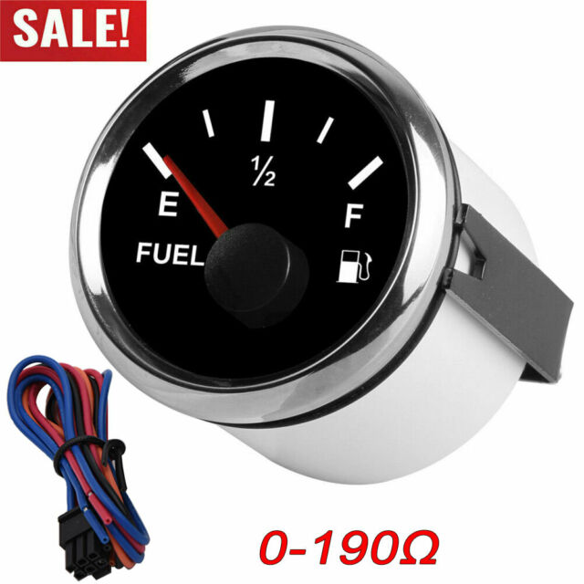 Tank Gauge Level Indicator 52mm//2in Fuel Oil Tank Level Gauge 0-190ohm Signal Pointer Meter for Marine Boat Car White Dial Silver Frame