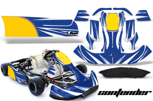 Go Kart Graphics Kit Decal Sticker Wrap For CRG New Age NA2 CONTENDER WHITE BLUE