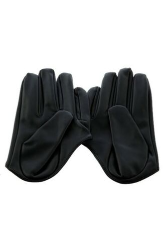 Damen Kunstleder Fuenf Finger Halbe Handflaeche Handschuhe Schwarz Y1W9 V3P8