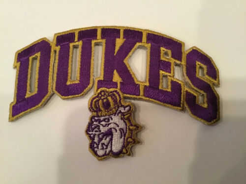 "JMU JAMES MADISON UNIVERSITY DUKES VINTAGE EMBROIDERED IRON ON PATCH 3.5""   2.25"