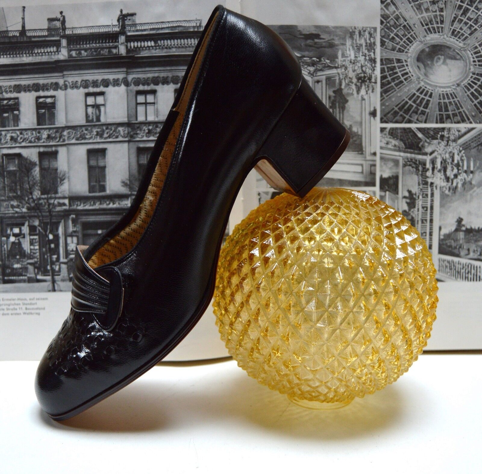 Damen Pumps Cliviée 60er TRUE VINTAGE 60´s schwarz naturform Blockheel 7,5 schwarz