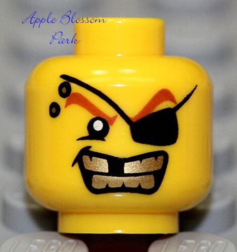 City//PoliceAgent NEW Lego Male//Boy Pirate MINIFIG HEAD w//Eye Patch Gold Teeth
