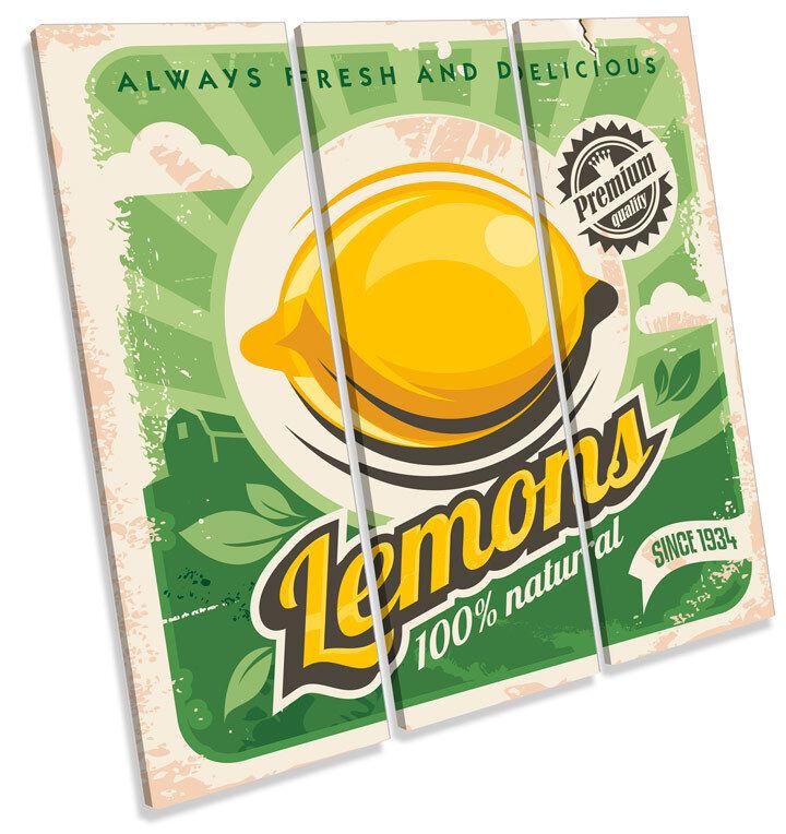 Lemon cocina de vintage estilo vintage de y retro agudos LONA pared arte Foto impresión Cuadrado 88c556