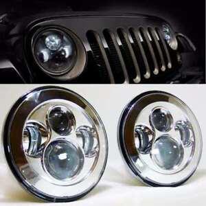 2X-7-INCH-LED-Headlights-Chrome-No-Halo-Nissan-Patrol-GQ-Ford-Maverick-MQ-G60