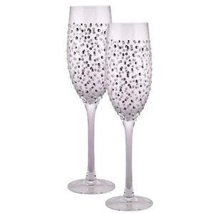 beff01a349e7 Sunny By Sue Twin Silver Glitter Champagne Flute Prosecco Glasses ...