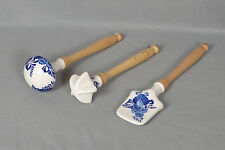 Blue & White Onion Pattern Porcelain Kitchen Utensils With Wood Handle-Set of 3