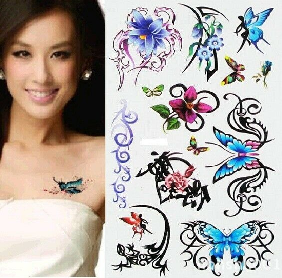 FD968 Removable Waterproof Temporary Tattoo Body Stickers ~Flower Butterfly~ 1pc